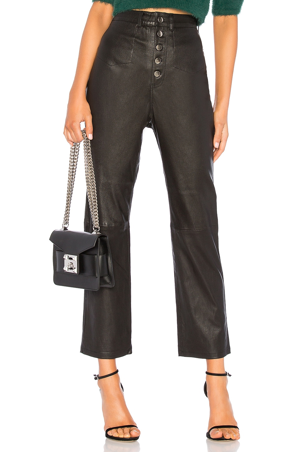 L'Academie The Kane Leather Pant in Black