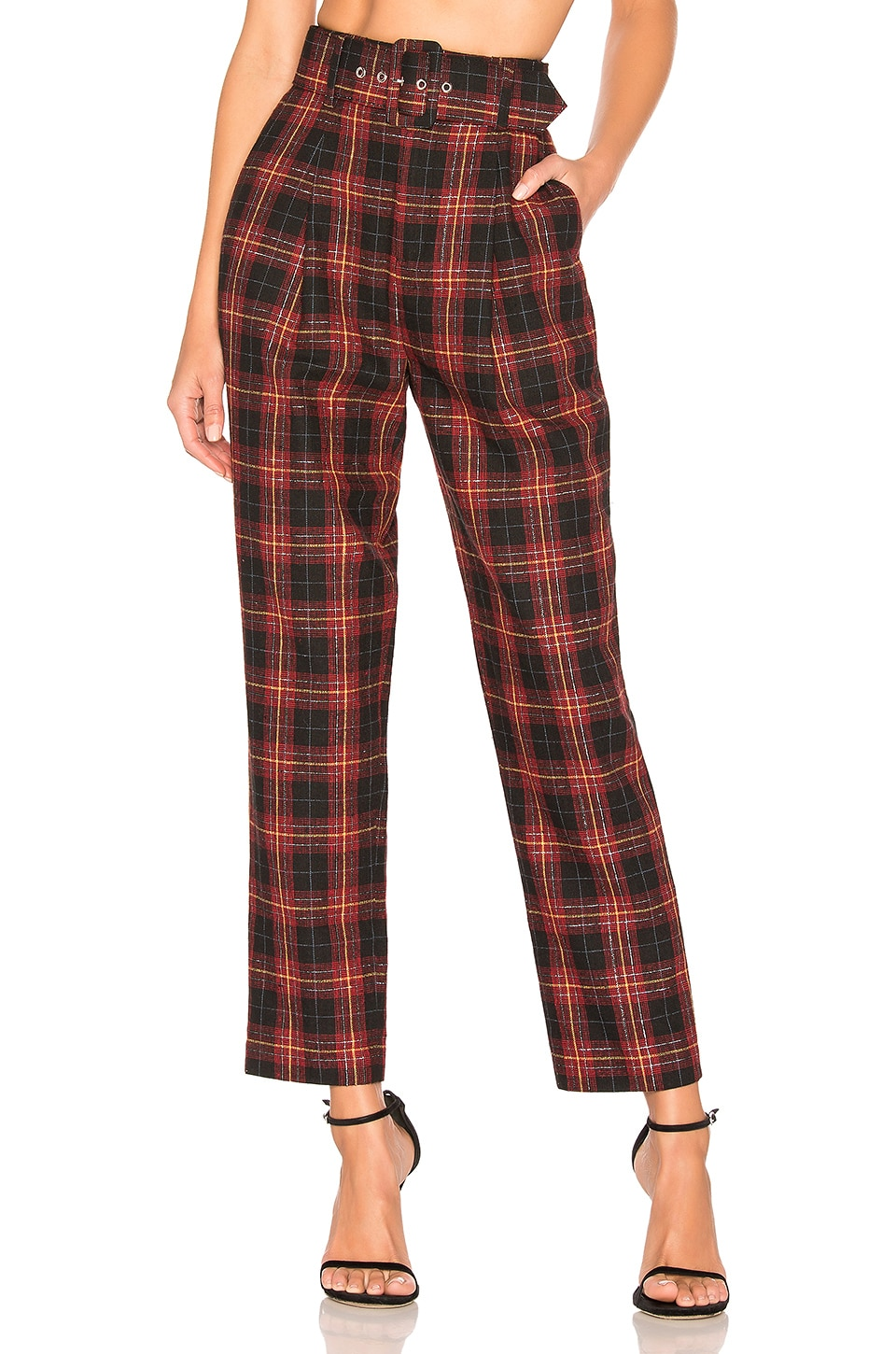 L'Academie The Betty Pant in Black & Red