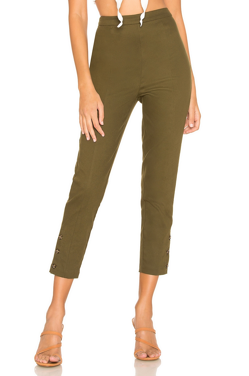 L'Academie Alloy Skinny Pants in Olive