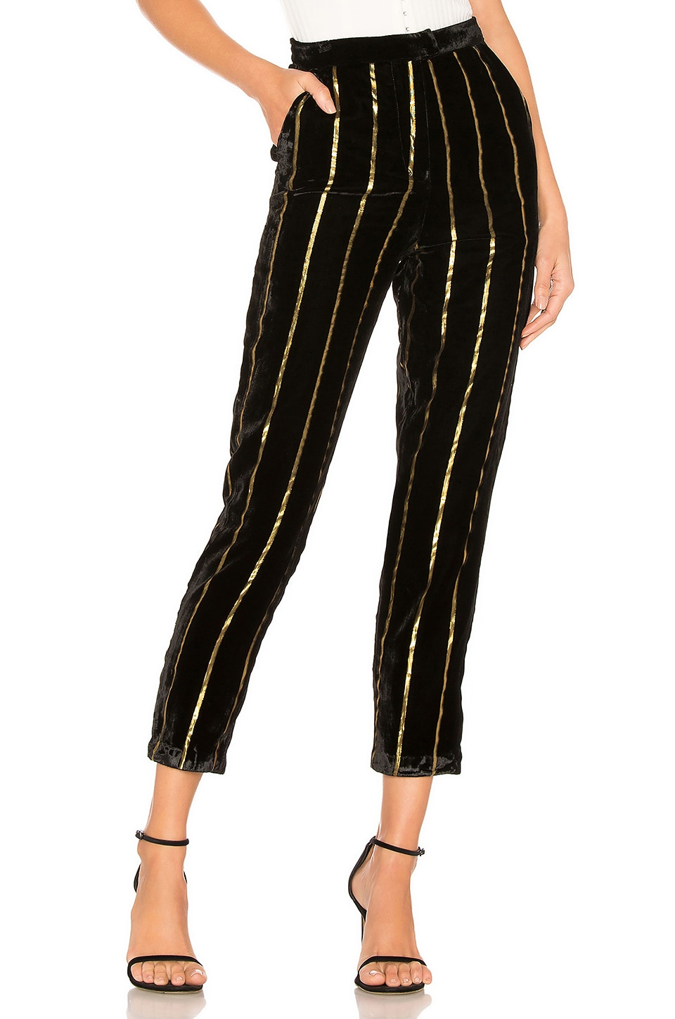 L'Academie The Fallon Pant in Black & Gold Stripe