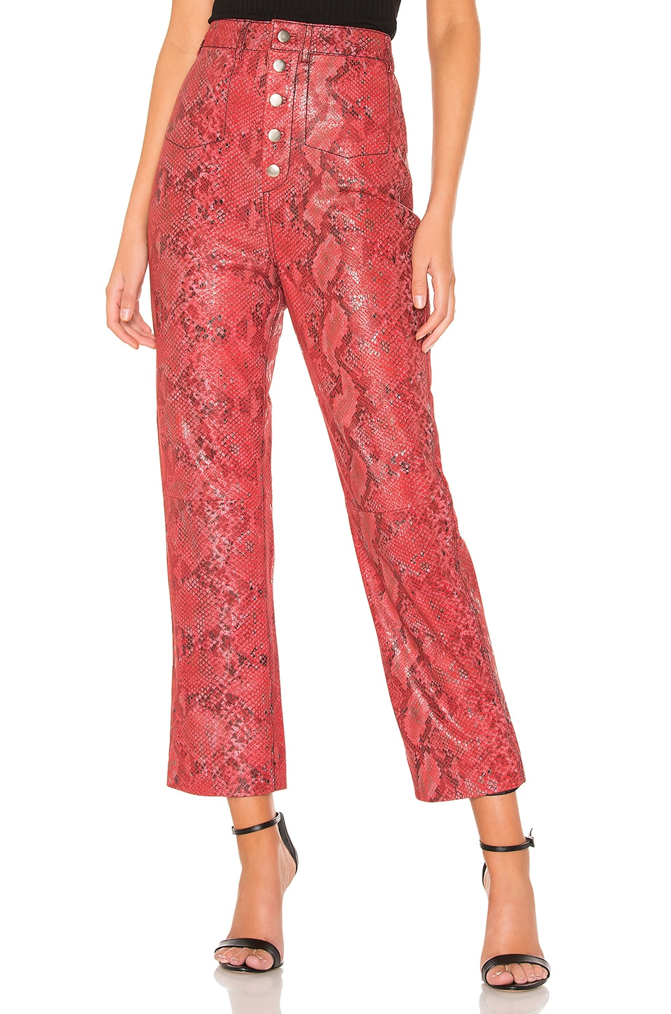 L'Academie The Serpent Leather Pant in Snake