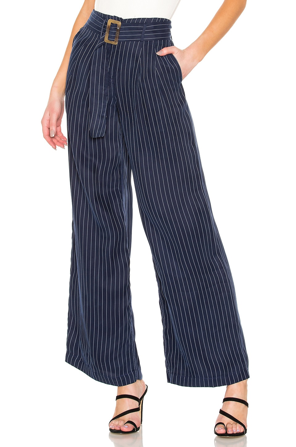L'Academie The Sean Pant in Navy & White