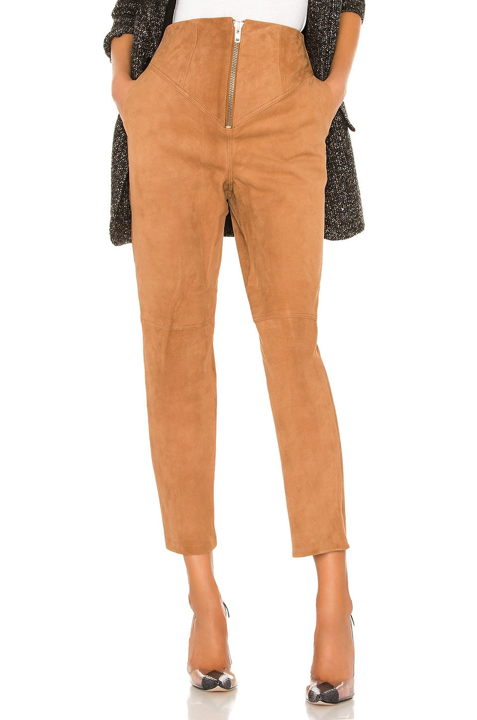 L'Academie Ansley Leather Pant in Nude Camel