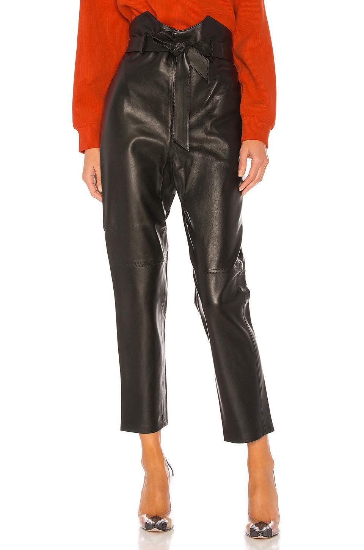L'Academie Delaney Leather Pants in Black