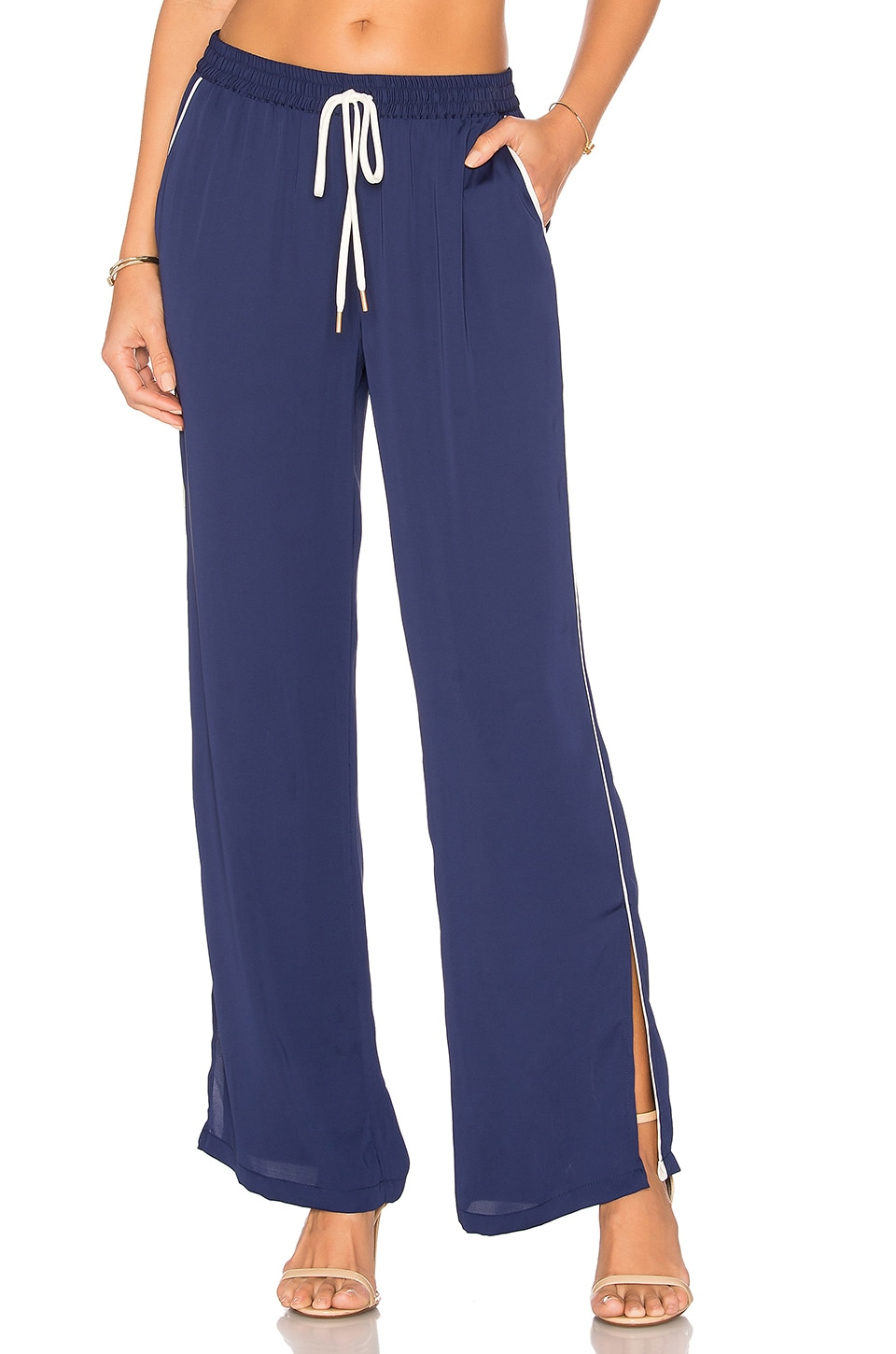 L'Academie The Lounge Pant in Navy & Ivory