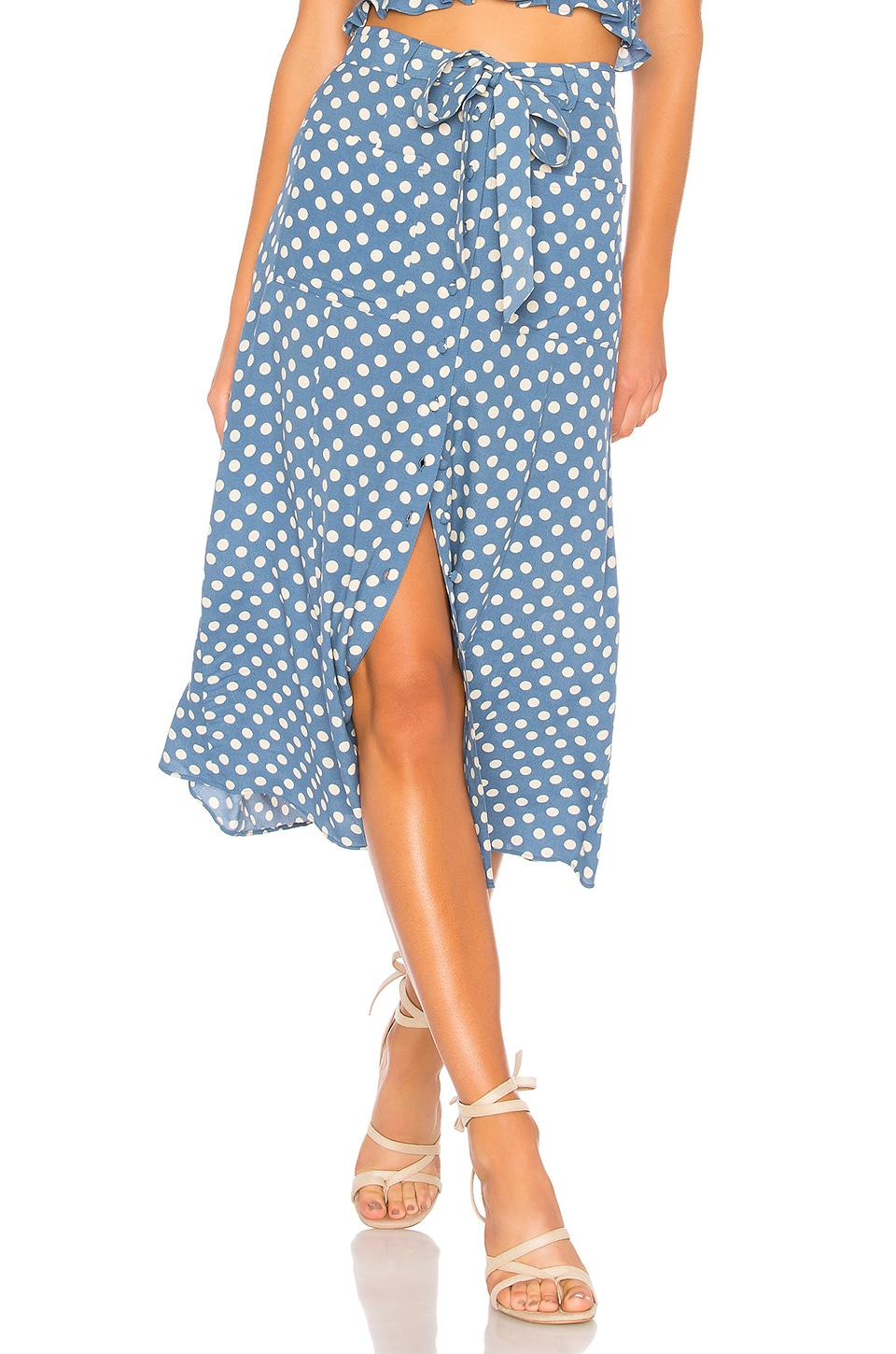 L'Academie The Andres Midi Skirt in Blue Dot