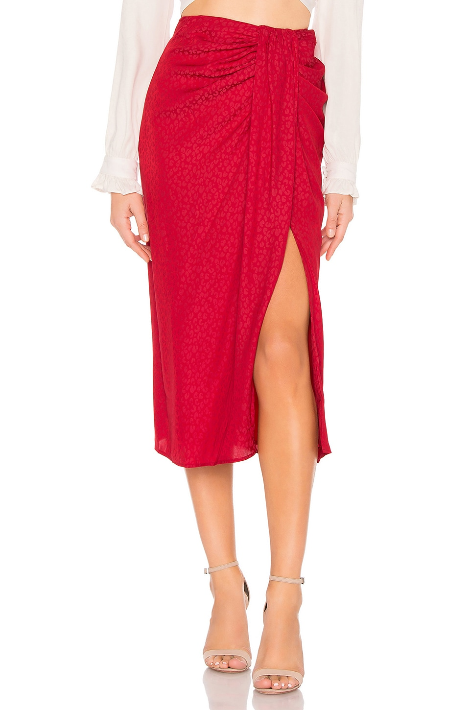 L'Academie The Maryam Skirt in Lava Red