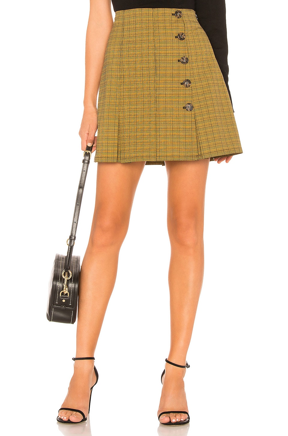 L'Academie The Micaela Mini Skirt in Yellow Plaid