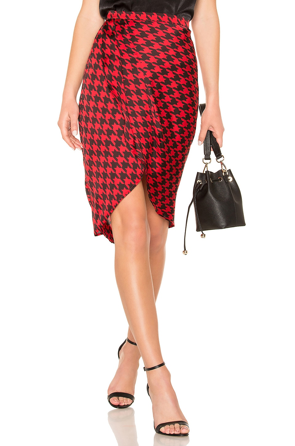 L'Academie The Arlene Midi Skirt in Red Houndstooth