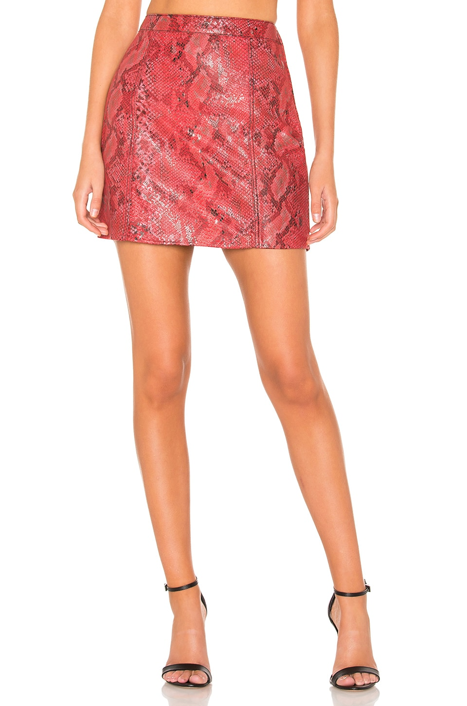 L'Academie The Serpent Leather Skirt in Snake