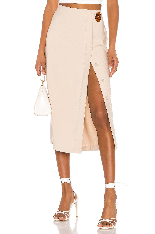 L'Academie The Jeanne Midi Skirt in Sand
