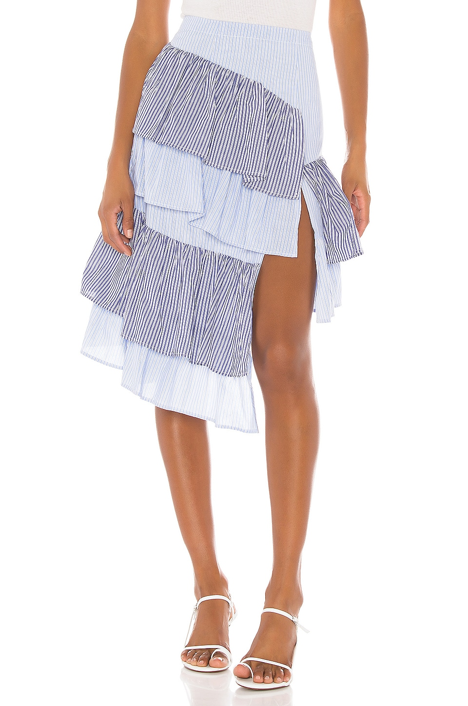 L'Academie The Francine Midi Skirt in Blue & White