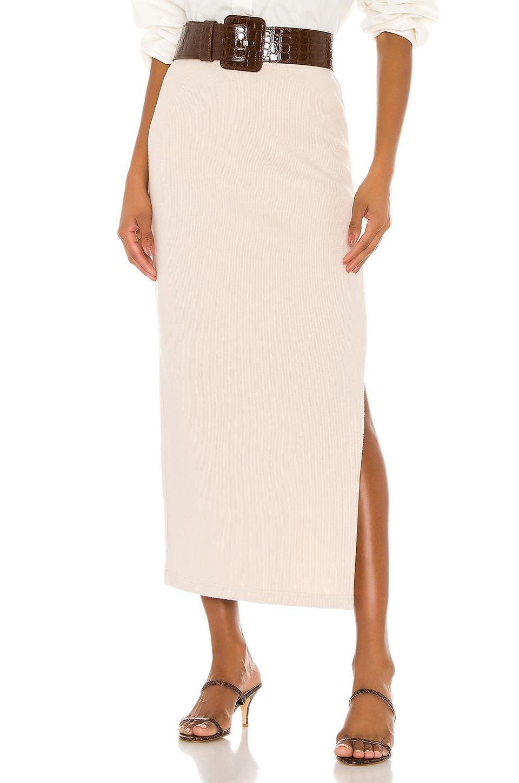 L'Academie The Mia Midi Skirt in Cream