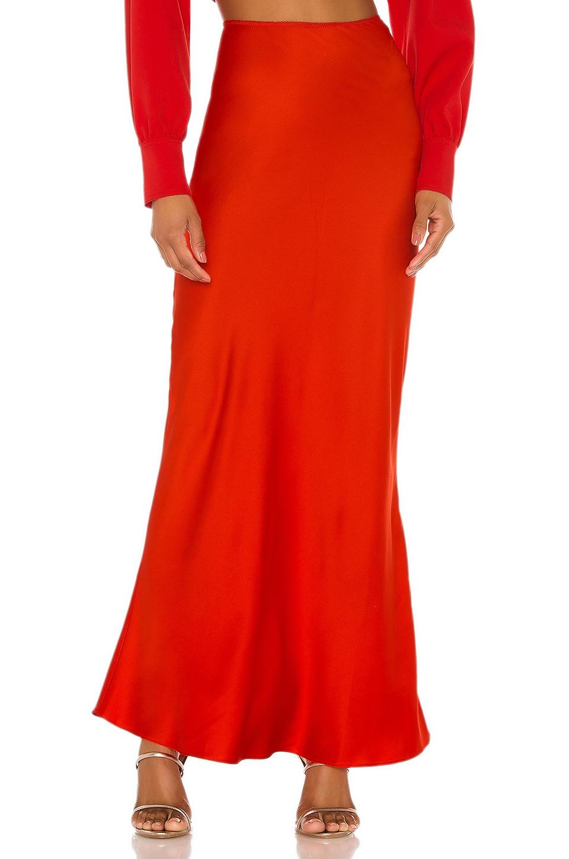 L'Academie The Nadaleine Maxi Skirt in Fiery Red