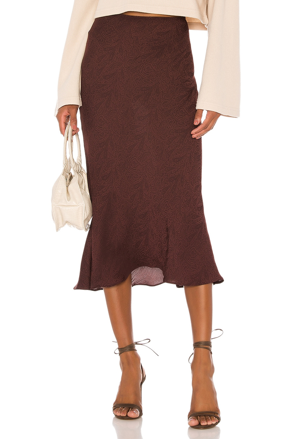 L'Academie The Jeune Midi Skirt in Burgundy