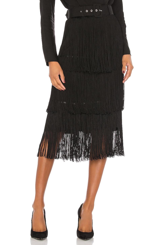 L'Academie The Roi Midi Skirt in Black