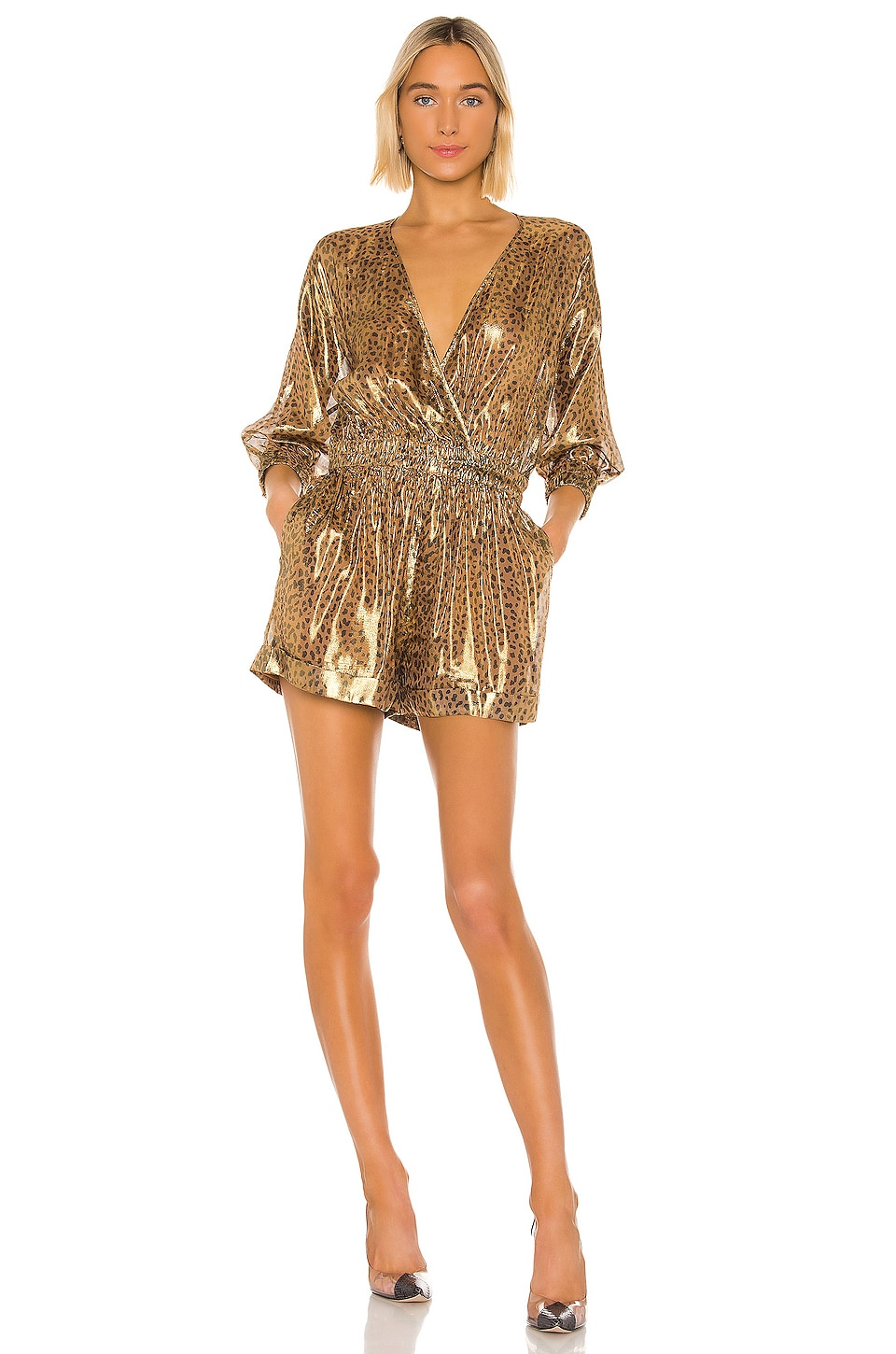 L'Academie The Katarin Romper in Metallic Leopard