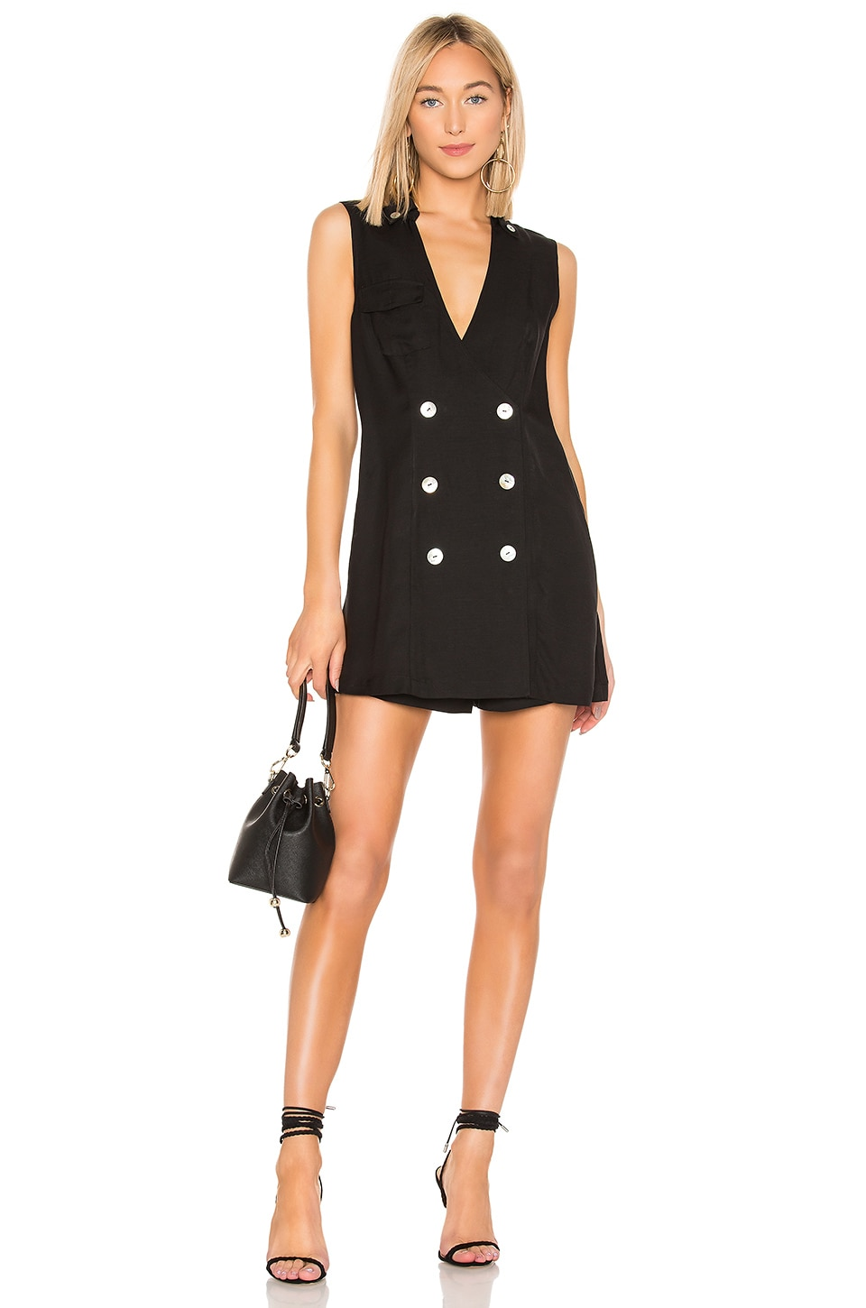 L'Academie The Julie Romper in Black