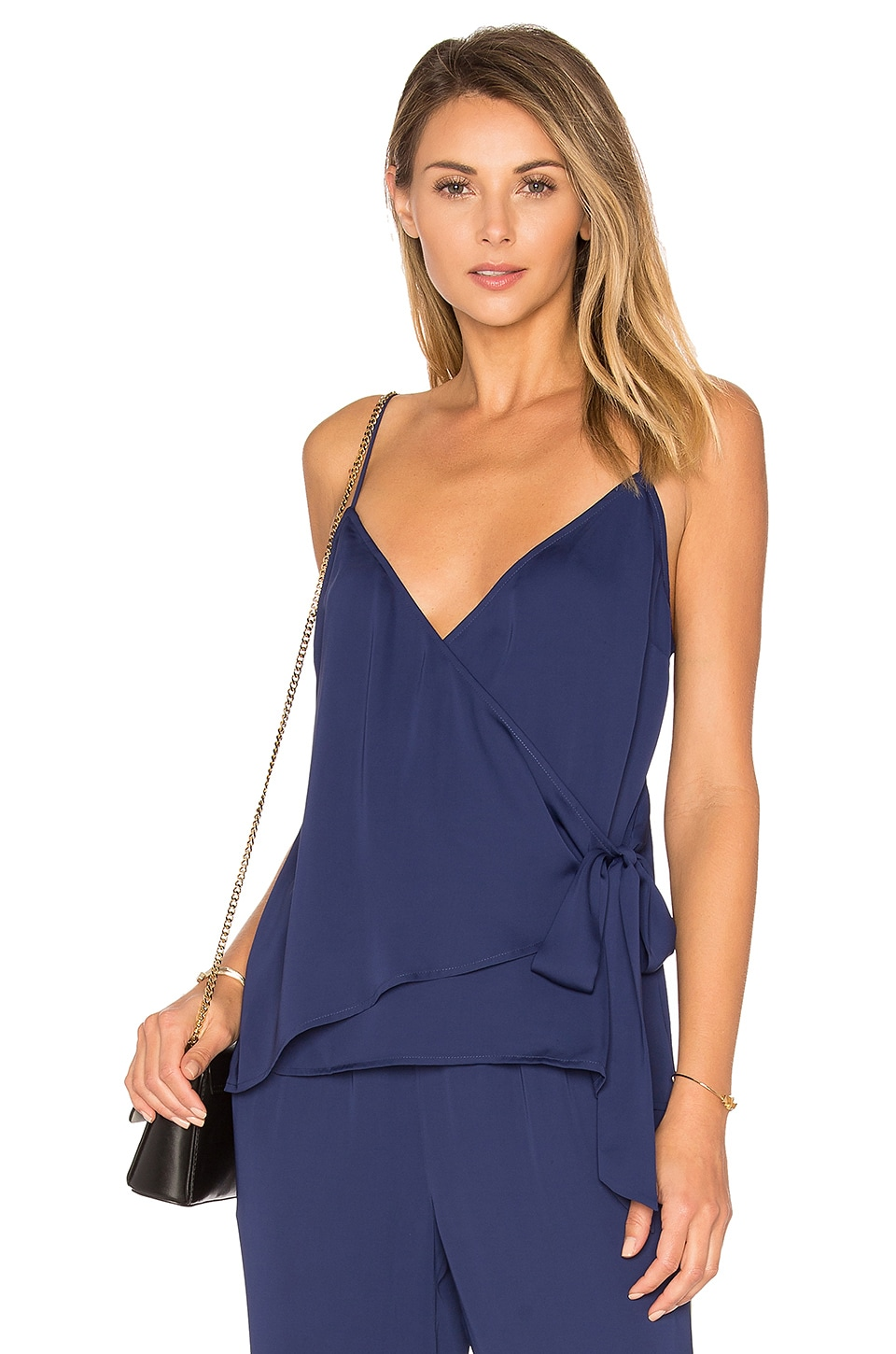 L'Academie The Wrap Cami in Navy