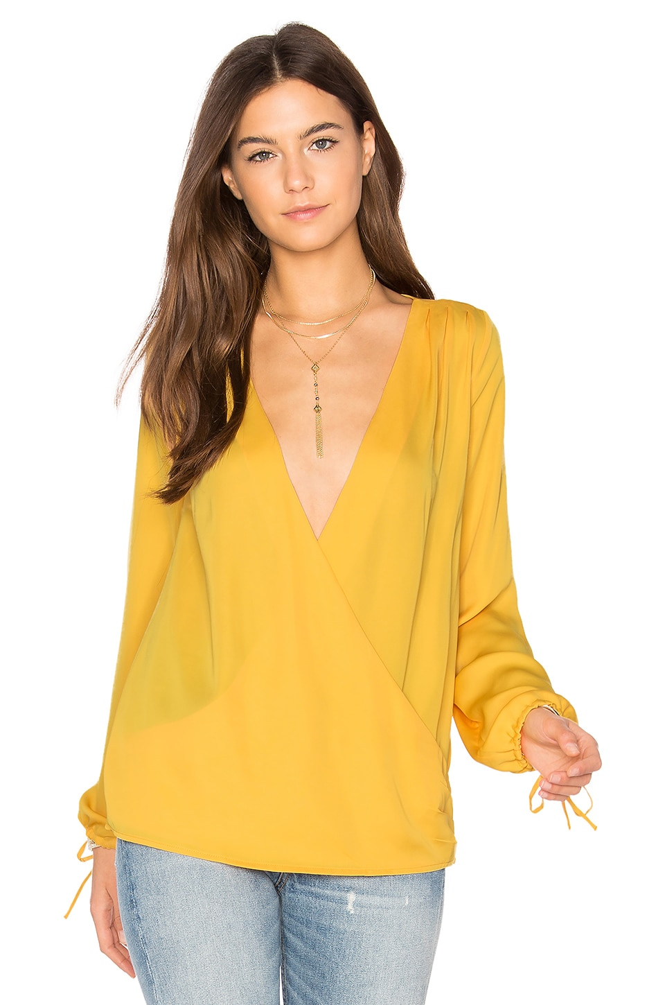 L'Academie The Long Sleeve Wrap Blouse in Marigold