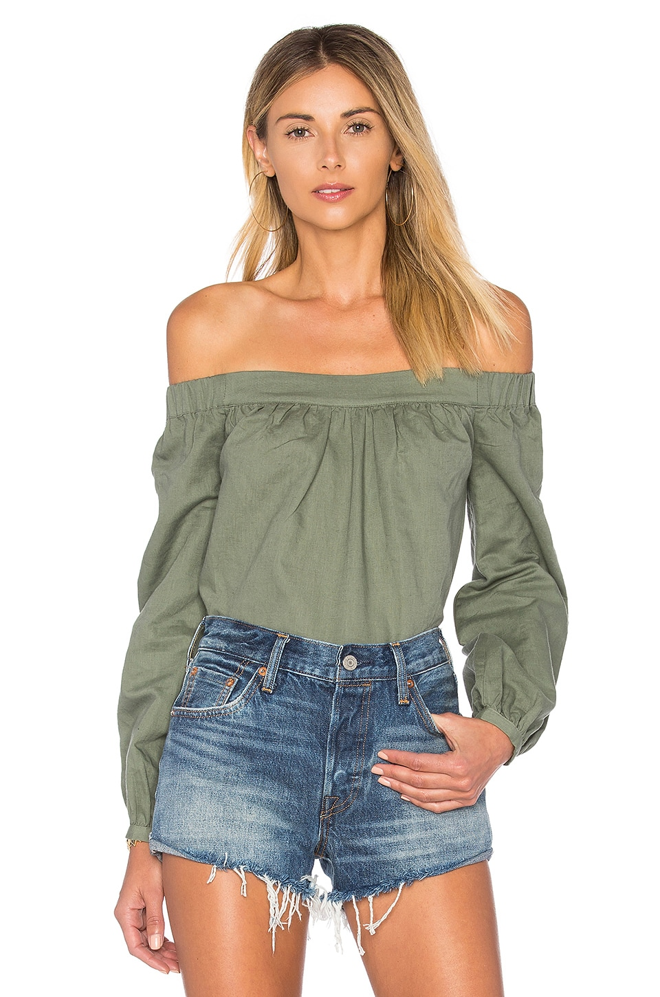 L'Academie The Romantic Linen Top in Fern