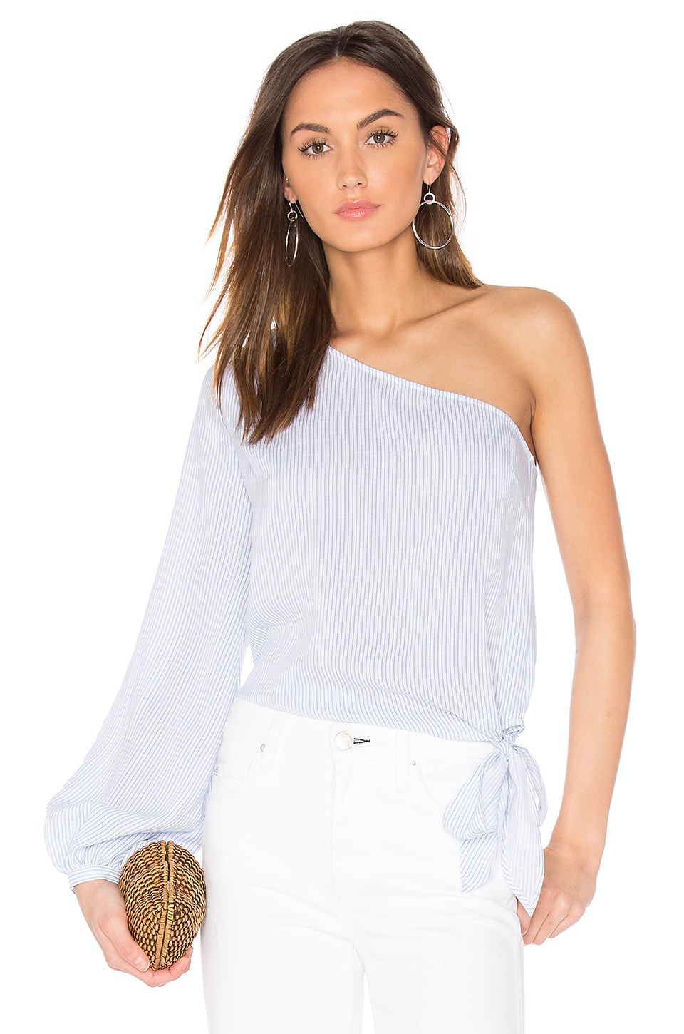 L'Academie x REVOLVE The Romantic Sleeve One Shoulder Blouse in Blue Pinstripe