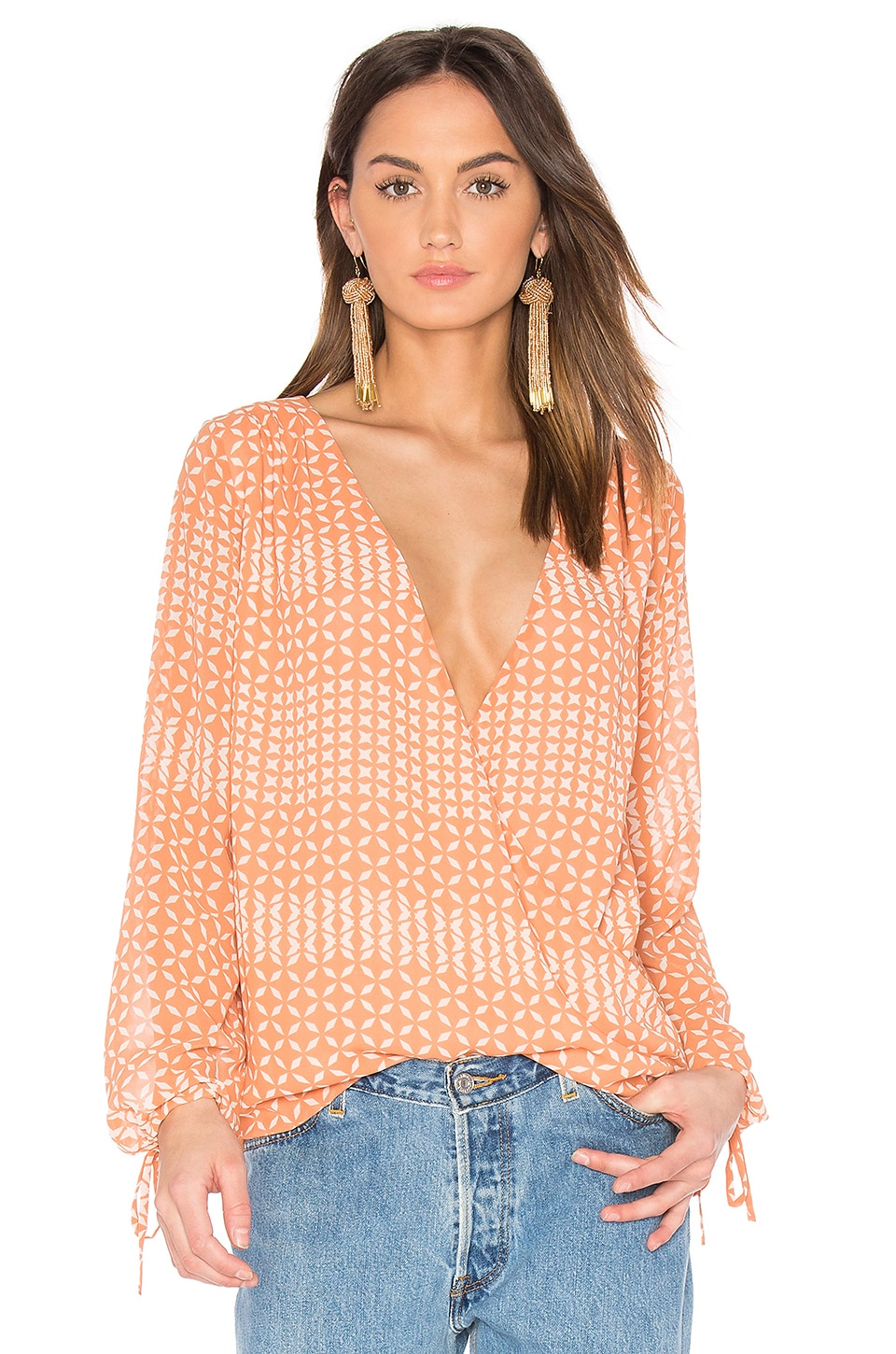 L'Academie The Long Sleeve Wrap Blouse in Kaleidoscope