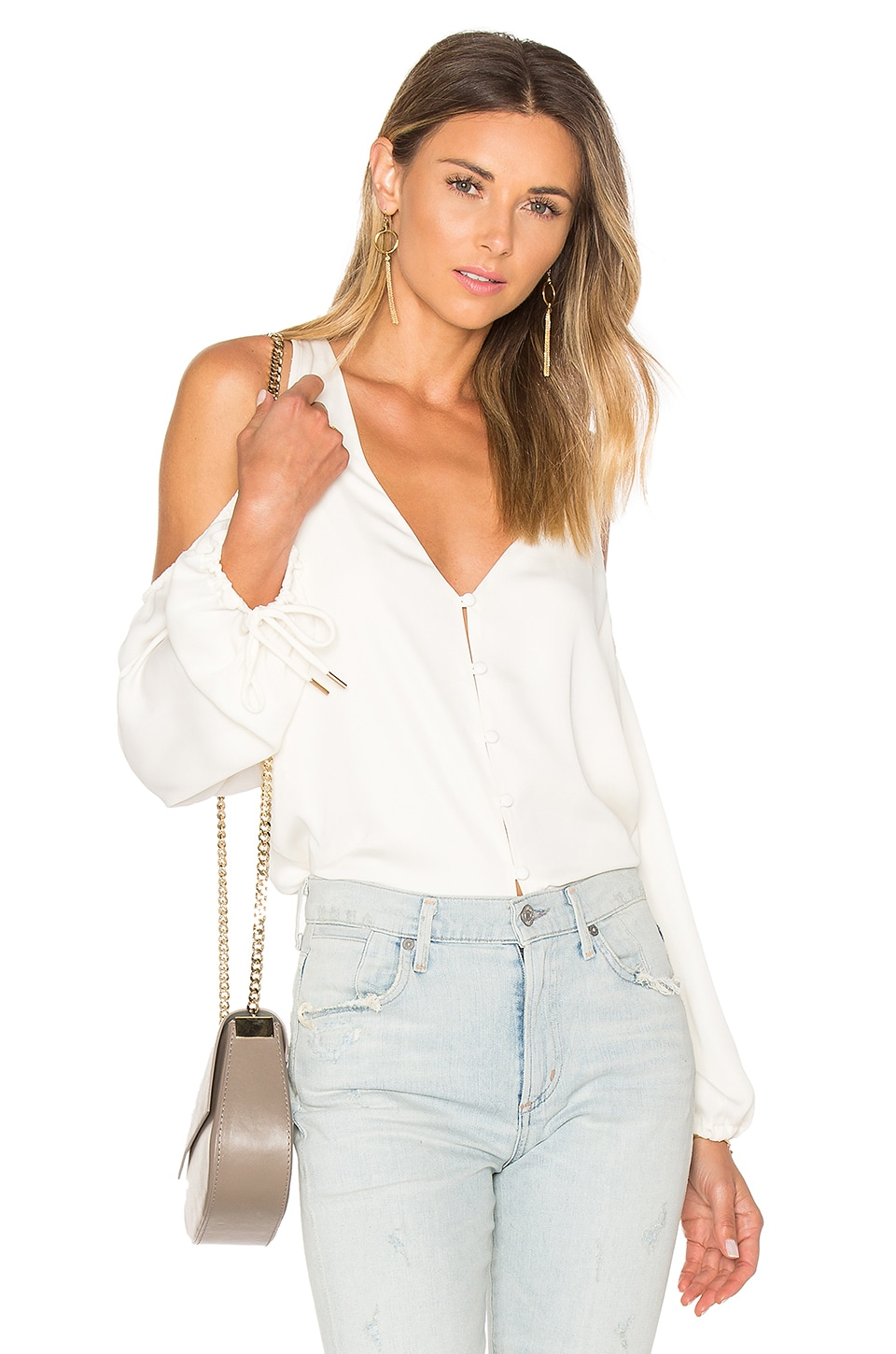 L'Academie The V-Neck Shoulder Blouse in Ivory