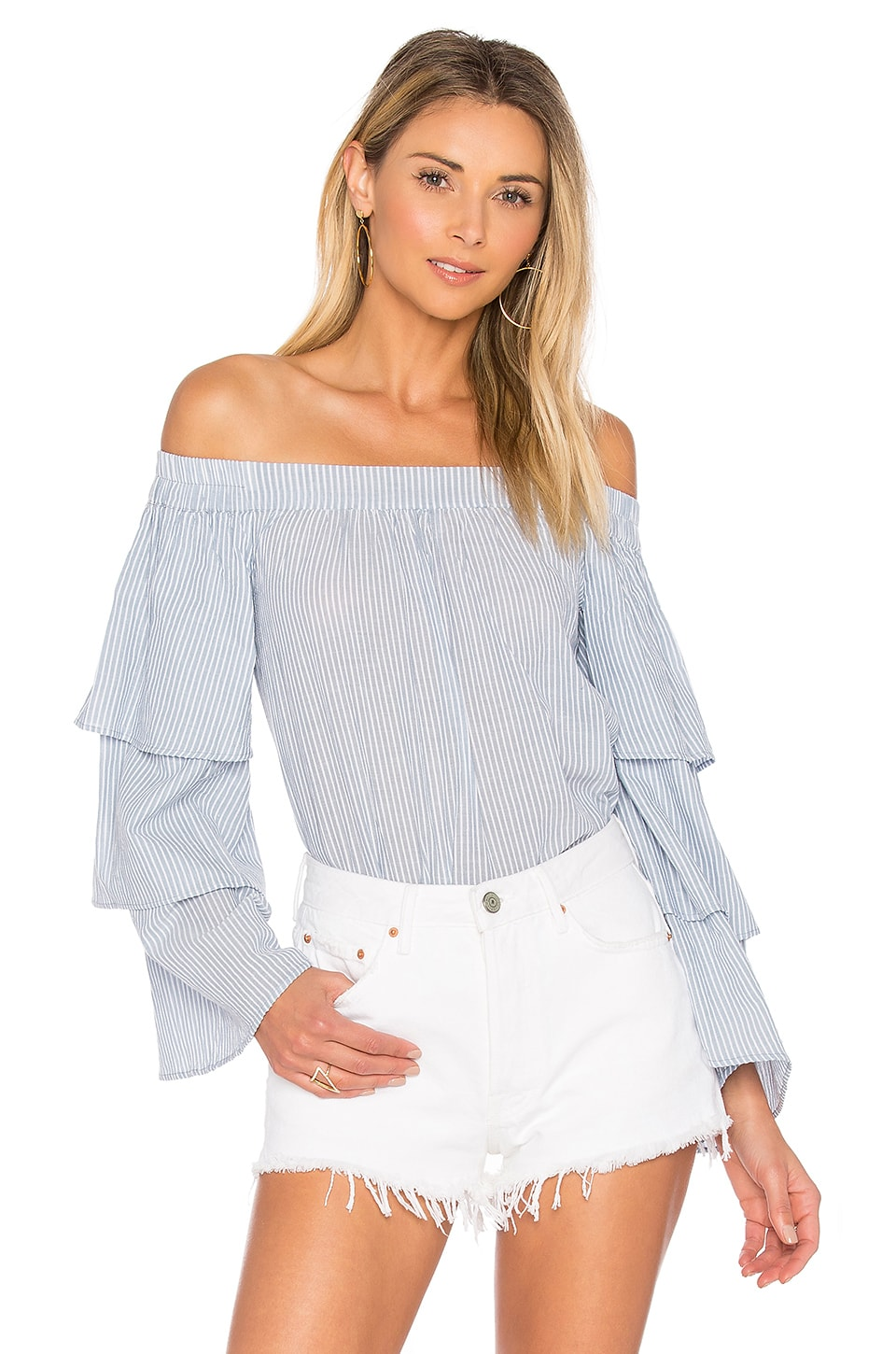 L'Academie x REVOLVE The Layered Off Shoulder in Blue Ladder Stripe
