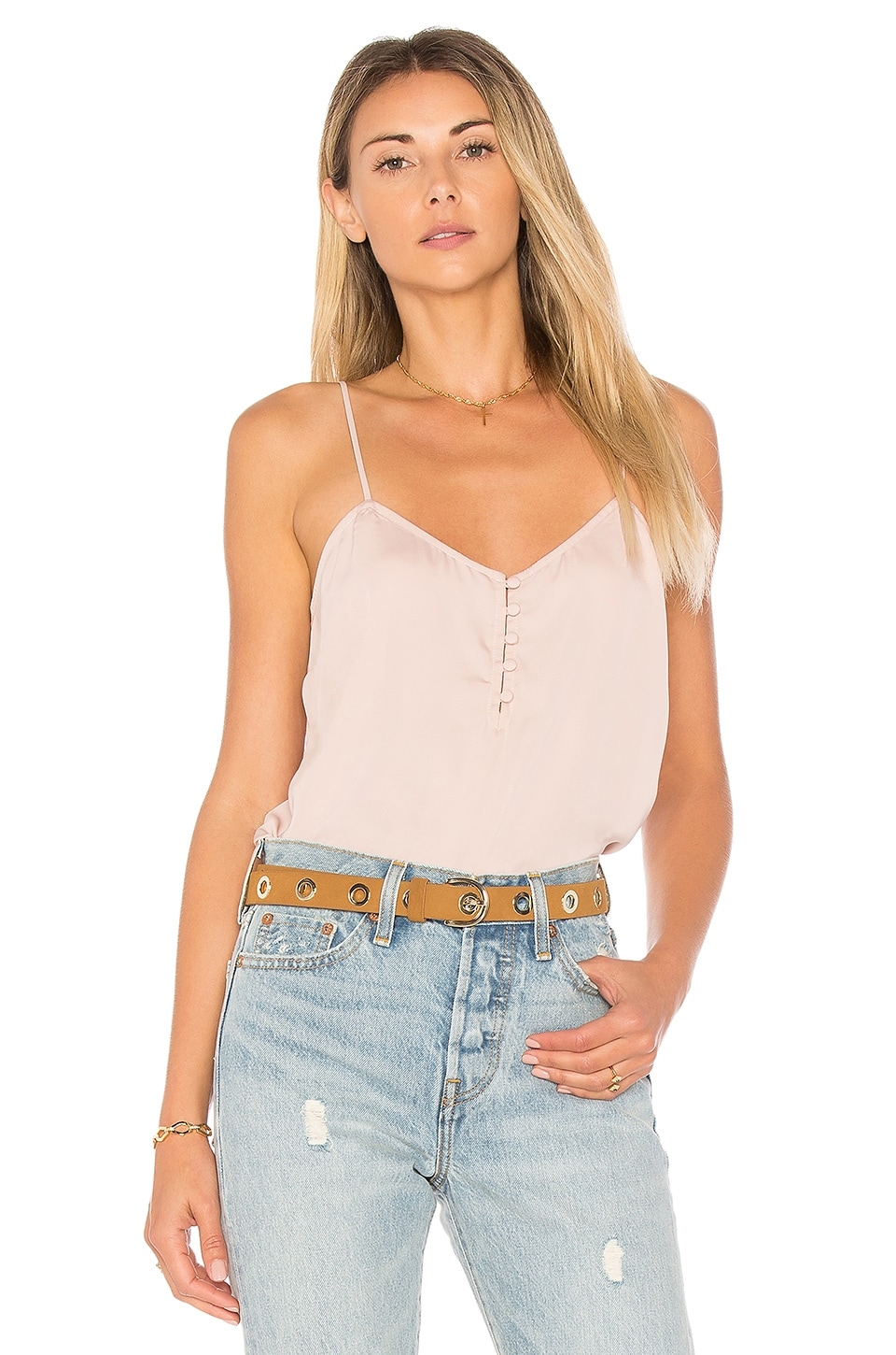 L'Academie The Button Cami in Taupe