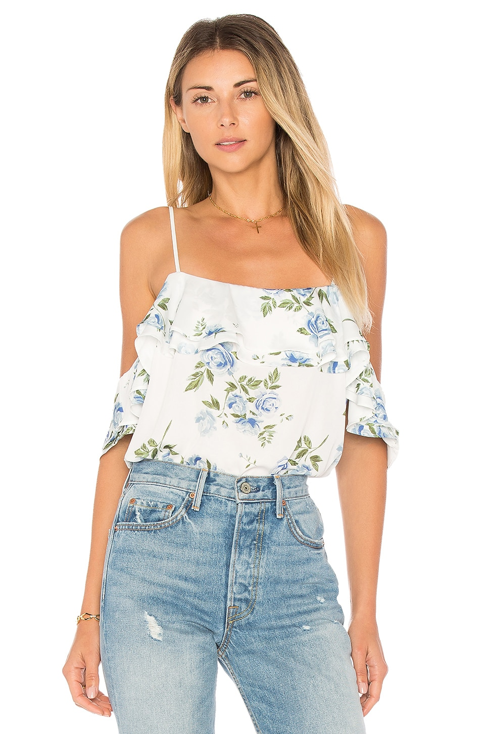 L'Academie The Off Shoulder Bodysuit in Blue Floral