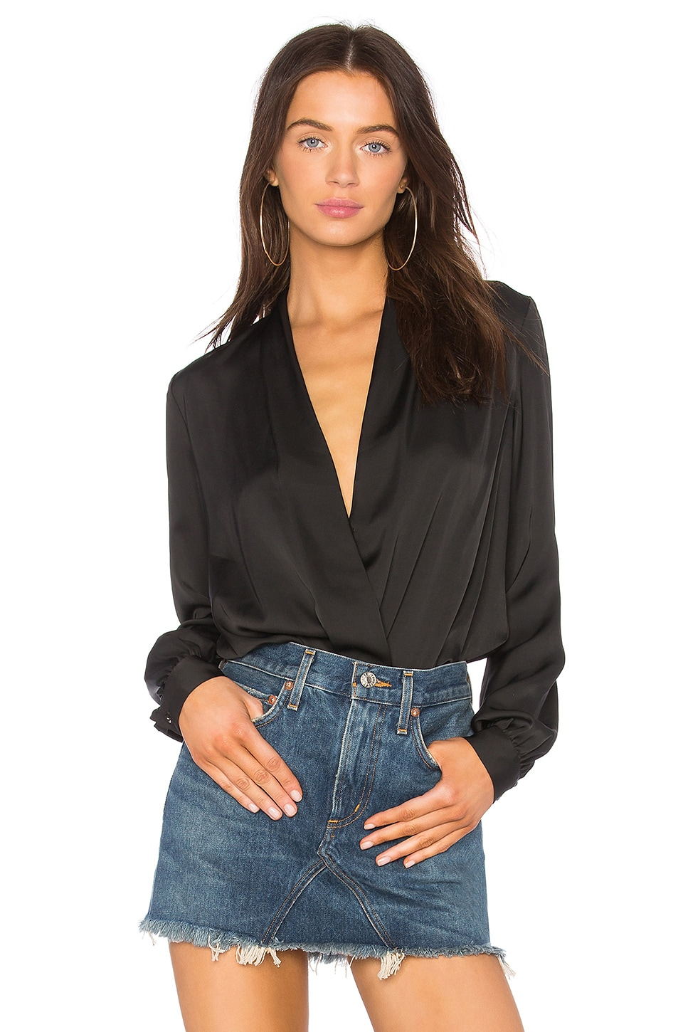 L'Academie The Long Sleeve Bodysuit in Black