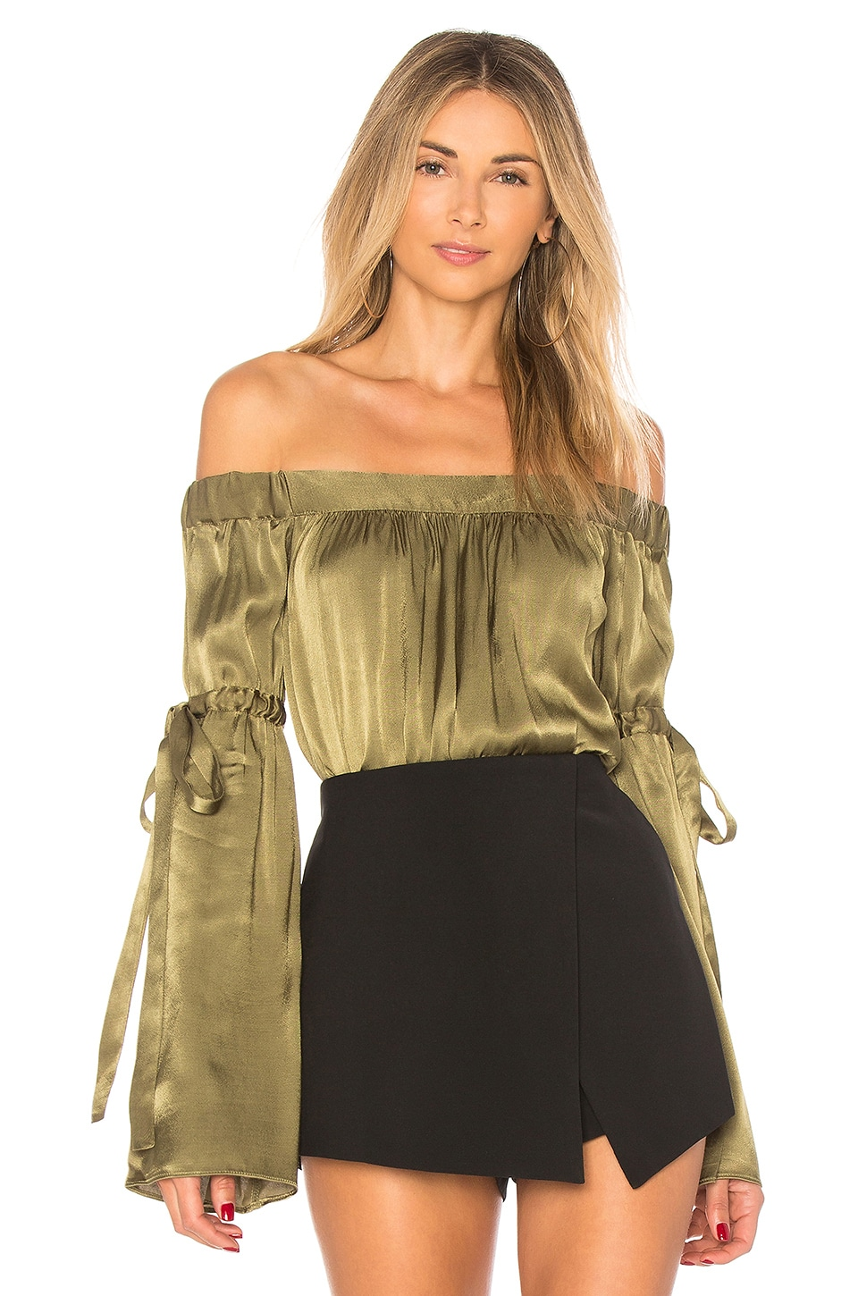 L'Academie The Delia Blouse in Olive