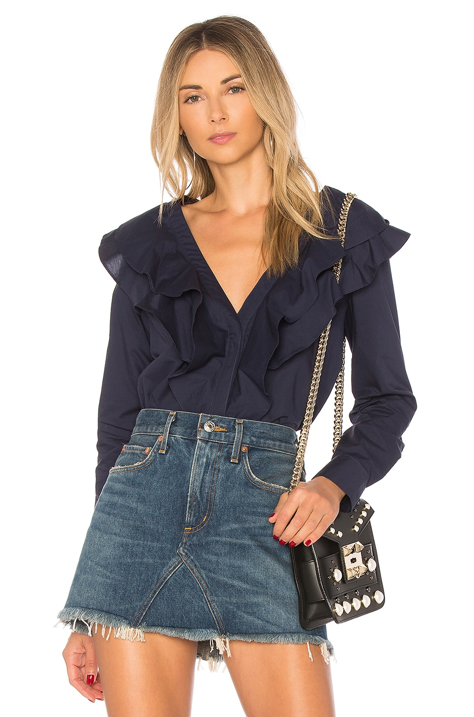 L'Academie The Solene Button Up in Navy