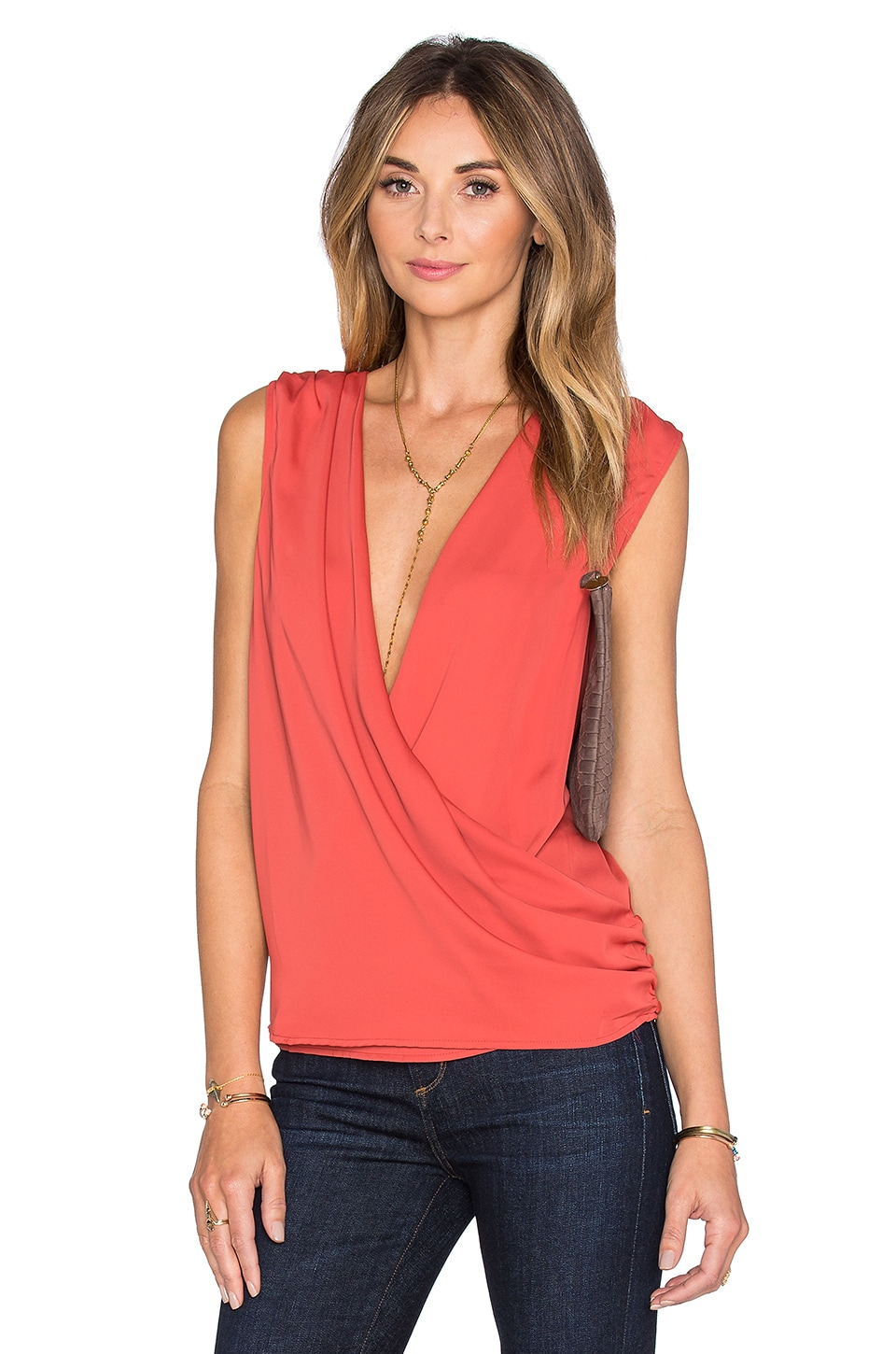 L'Academie The Wrap Blouse in Red Orange