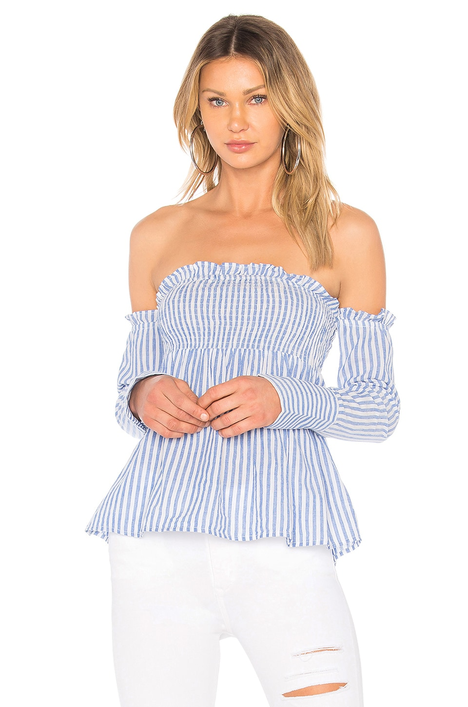 L'Academie Erin Top in Blue Stripe