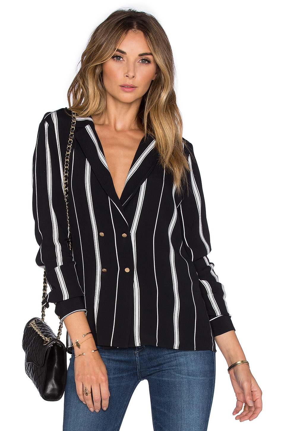 L'Academie x REVOLVE The Military Blouse en Beige Stripe