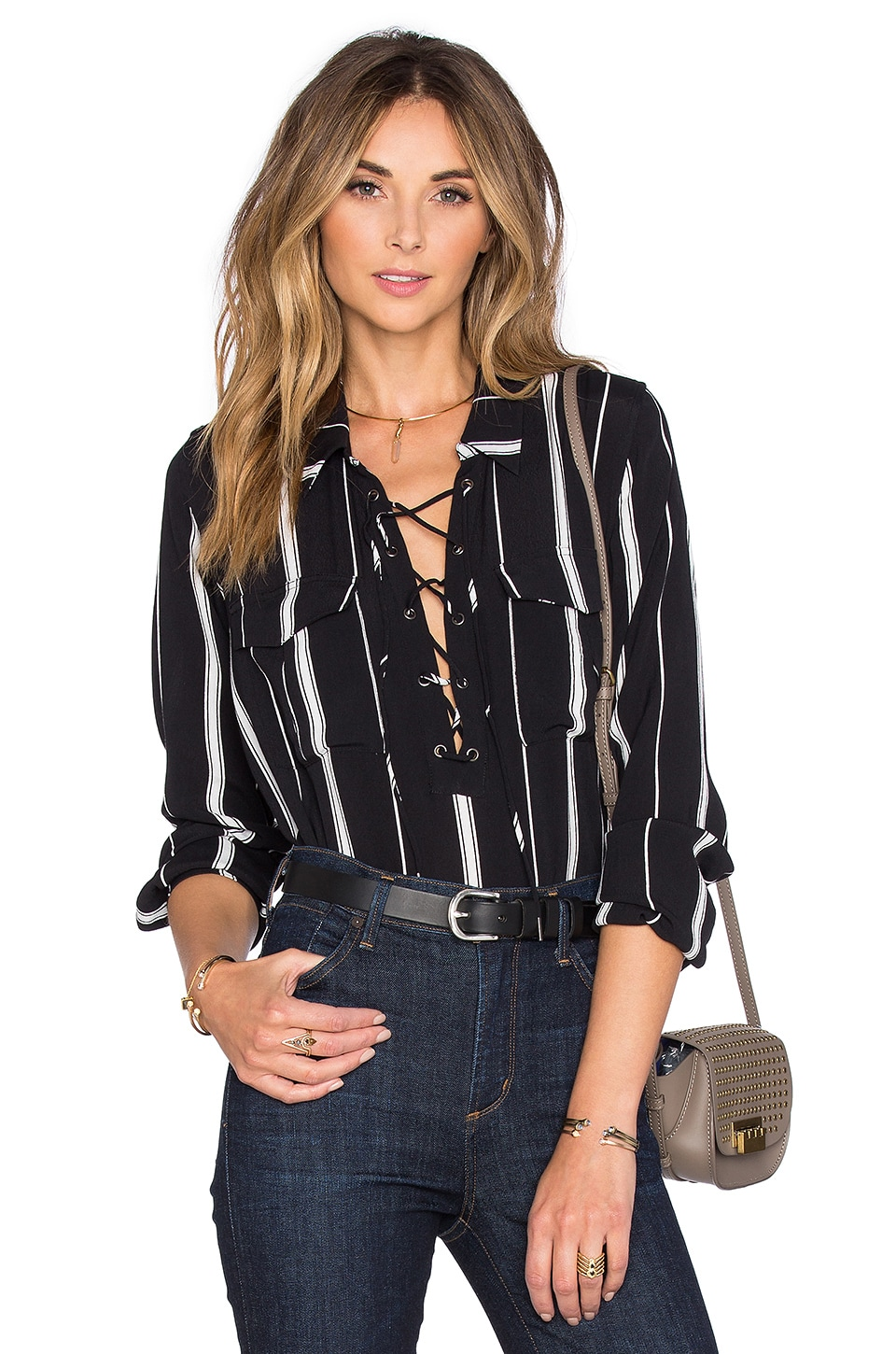 L'Academie x REVOLVE The Safari Blouse in Beige Stripe