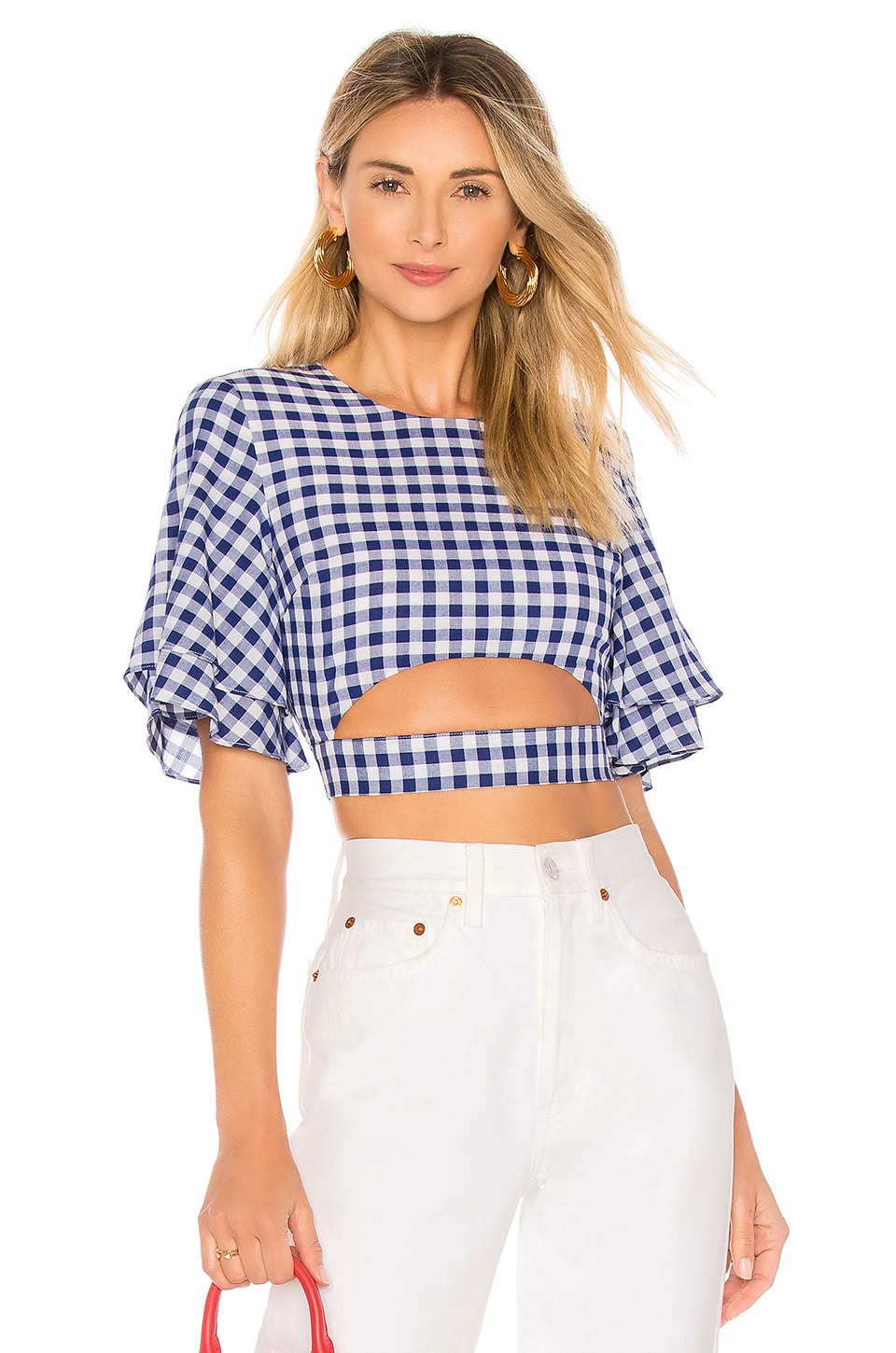 L'Academie The Lorenzo Blouse in Blue Gingham