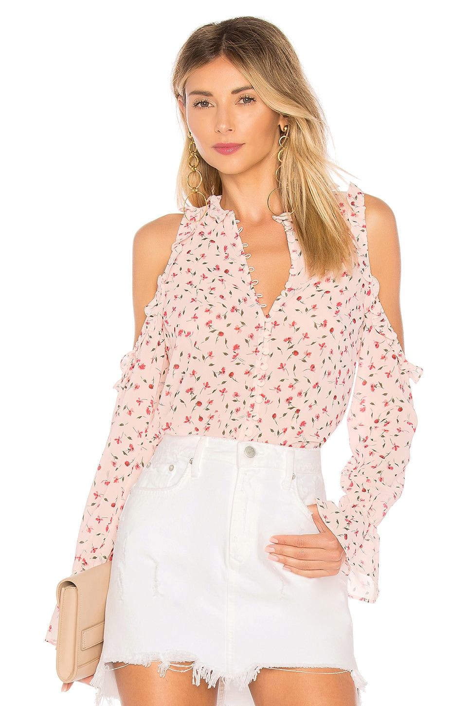 L'Academie The Bell Button Up Top in Amber Floral