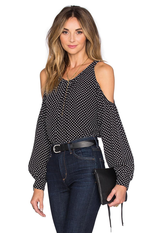 L'Academie x REVOLVE The Shoulder Blouse in Black Polka Dot