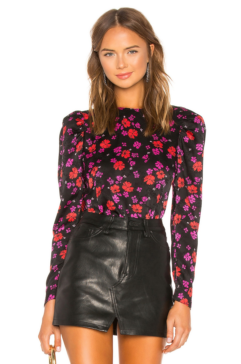 L'Academie The Eleonora Blouse in Black & Red Floral