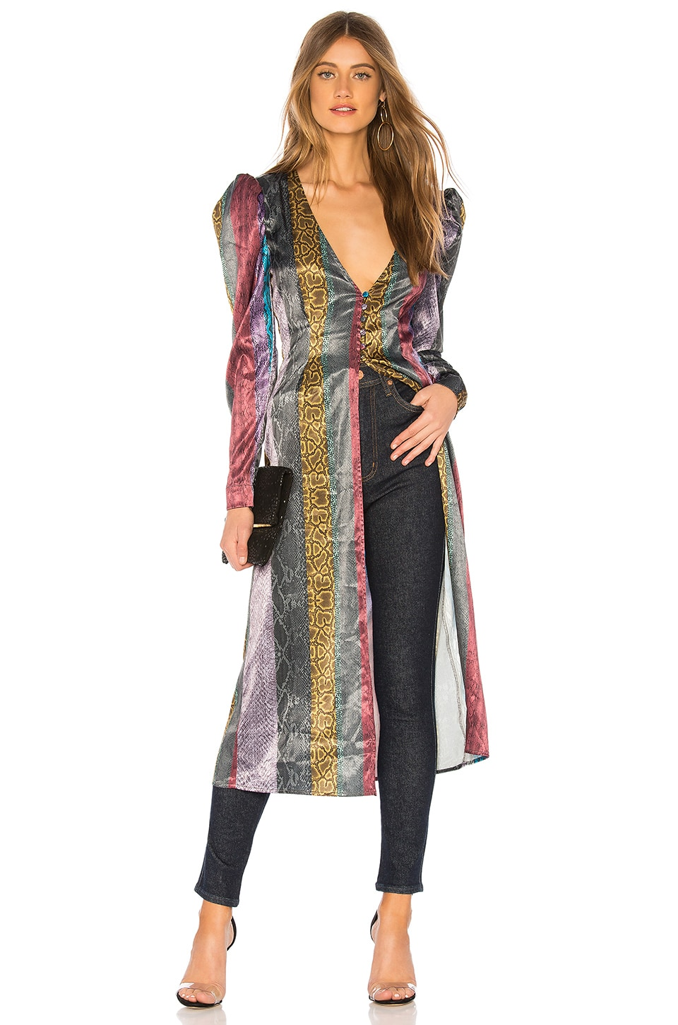 L'Academie The Faye Duster Dress in Multi Snake
