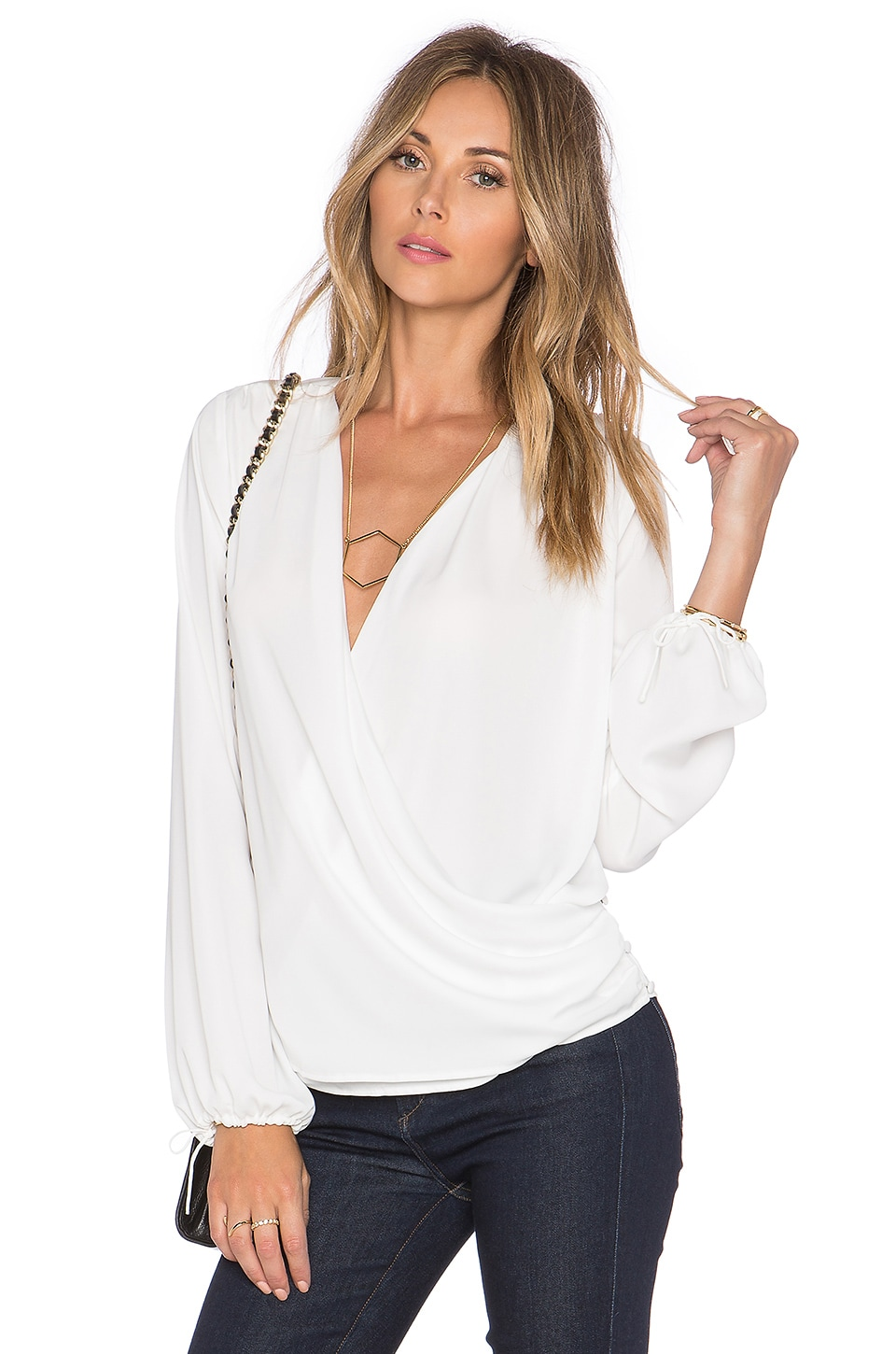 L'Academie The Wrap Blouse in Ivory | REVOLVE