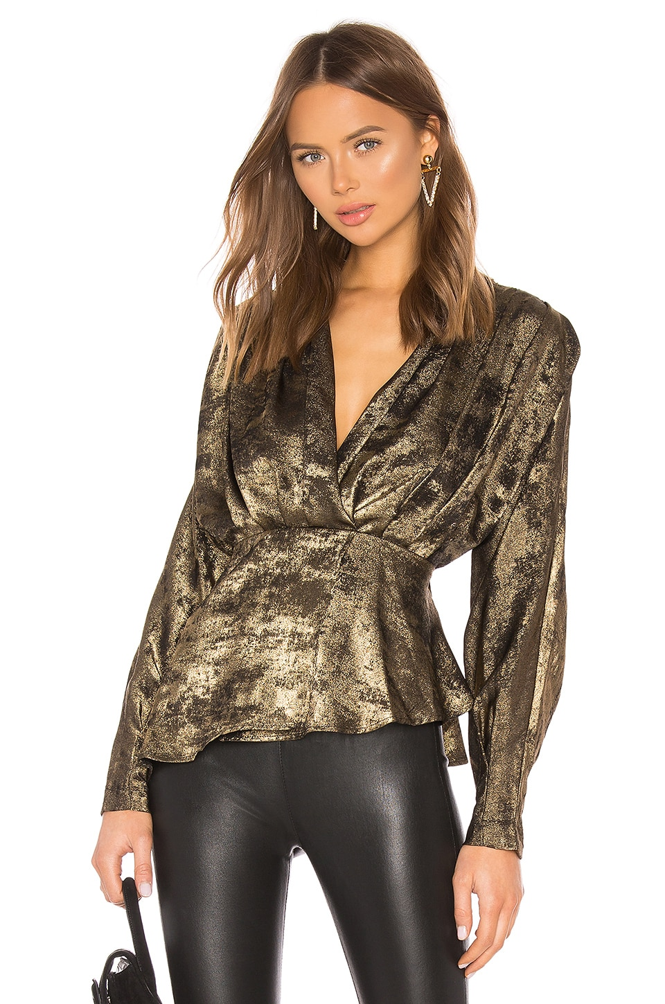 L'Academie The Benae Blouse in Black & Gold