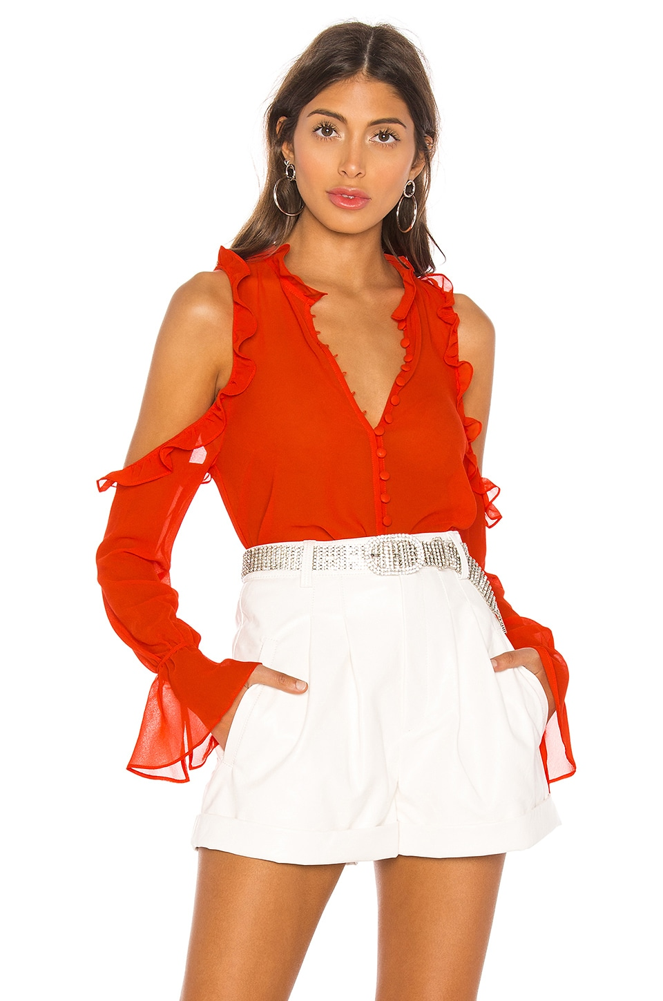 L'Academie The Bell Button Up Blouse in Orange