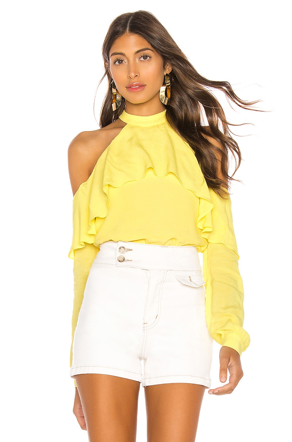 L'Academie The Helena Blouse in Pale Yellow
