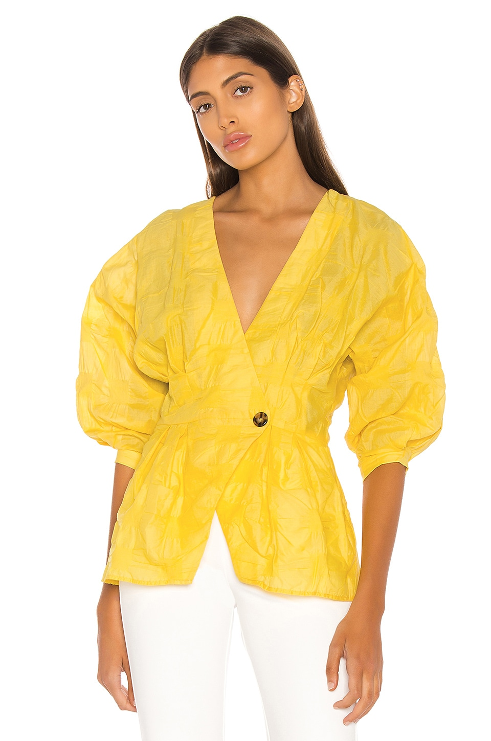 L'Academie The Michela Blouse in Lemon Yellow