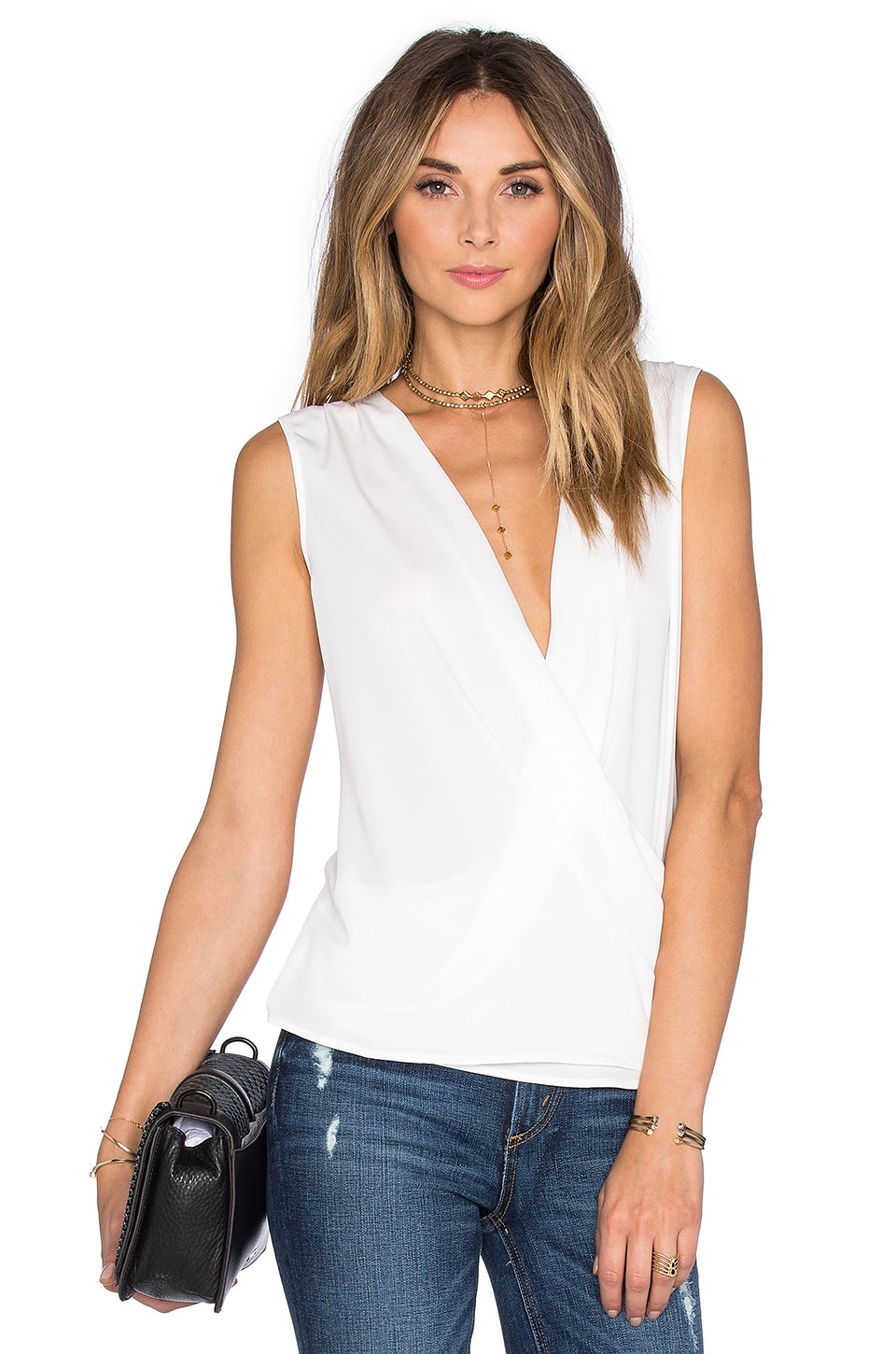 L'Academie The Wrap Blouse in White