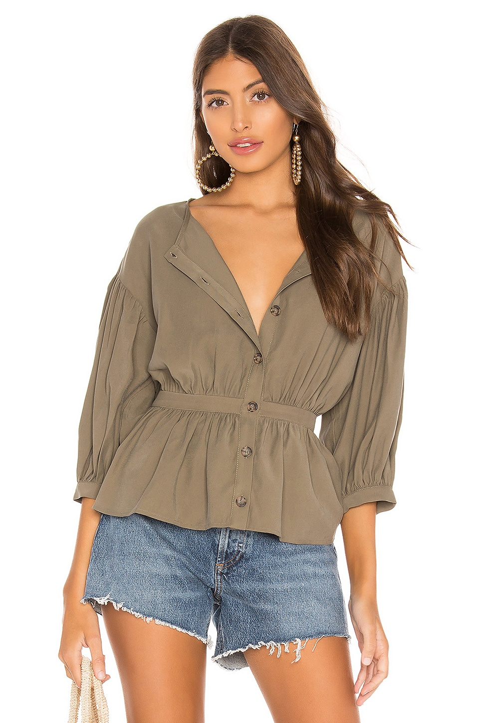 L'Academie The Danielle Blouse in Olivine Green